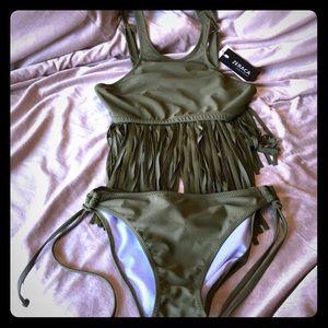 Women's fringe swimsuit